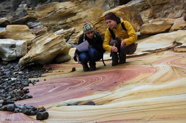 Painted cliffs sandstone liesegang bands on Maria Island field trip in Tasmania, Australia