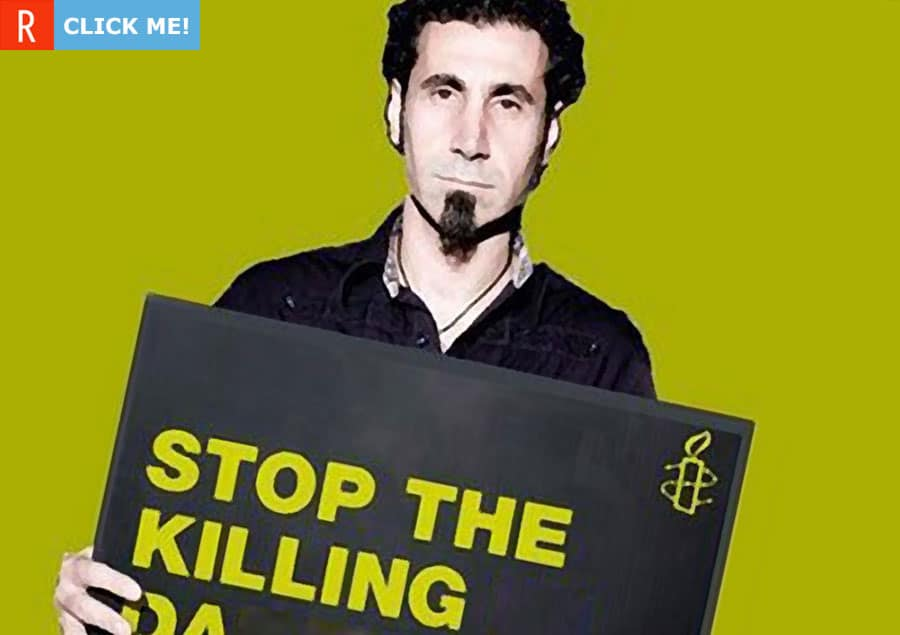 "Серж Танкян с табличкой ""Stop the killing"" (фото)"