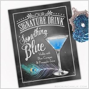 Something Blue Feather Martini