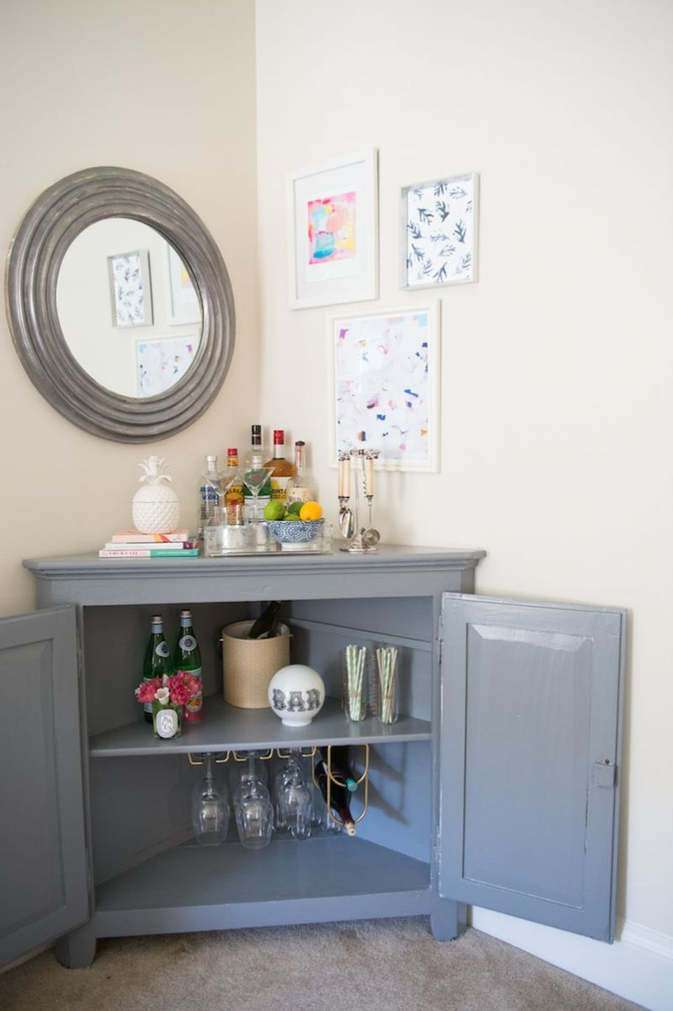 Corner bar cabinet for coffe and wine places 42 - Rockindeco