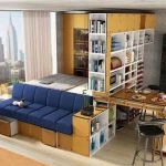 One room apartment layout design ideas 45