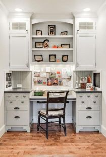 Awesome Built In Cabinet and Desk for Home Office Inspirations 4