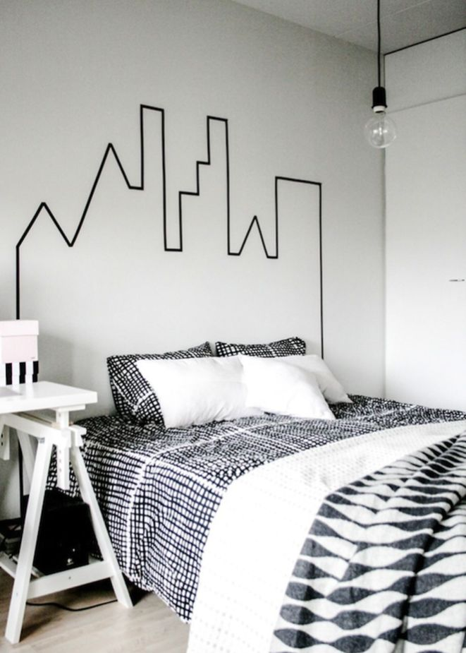 Inspiring Creative DIY Tape Mural for Wall Decor 42