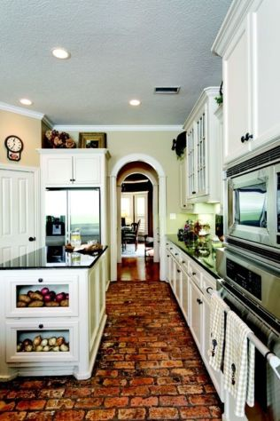 Amazing Brick Floor Kitchen Design Inspirations 14