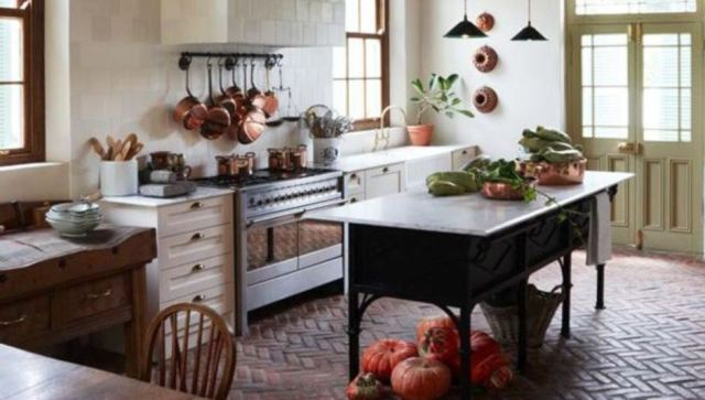 Amazing Brick Floor Kitchen Design
