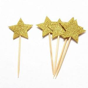 Gold Star Cupcake Toppers (Pack of 12)