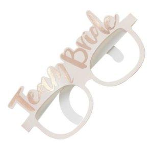 "Paper Glasses ""Team Bride"" - White"
