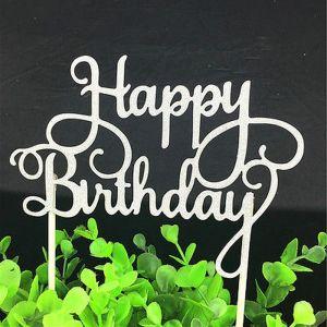 "Silver ""Happy Birthday"" Cake Topper"