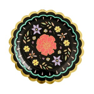 Black flower Plates 18cm (6 pieces)