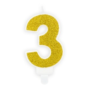 Number 3 Glitter Gold Birthday Candle 7cm