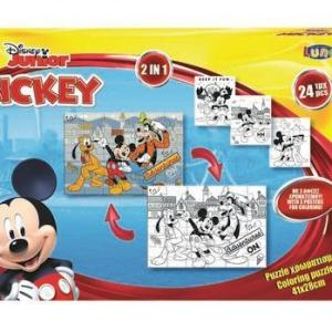 24 Pieces MICKEY MOUSE 41x28cm Coloring Puzzle 2sides