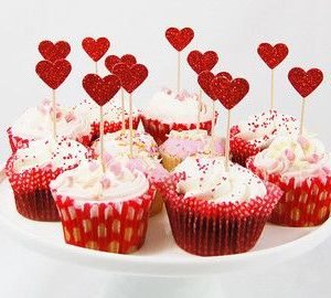 Red Hearts cupcake toppers (pack of 20)