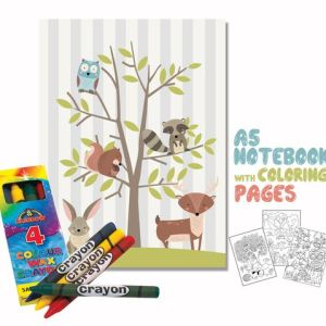 Woodland Coloring Book 14x20cm & Crayons Gift