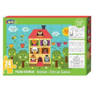 PUZZLE 24pcs 41x28cm Animals House & Coloring Pages