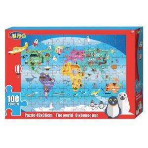 PUZZLE 100PCS 49X36CM THE WORLD