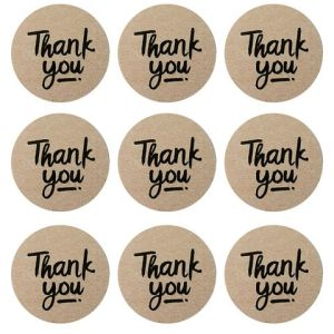 "24 ""Thank you"" Stickers KRAFT (4cm)"