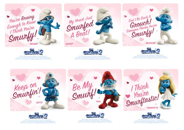 The Smurfs 2 Valentine's Day-Cards