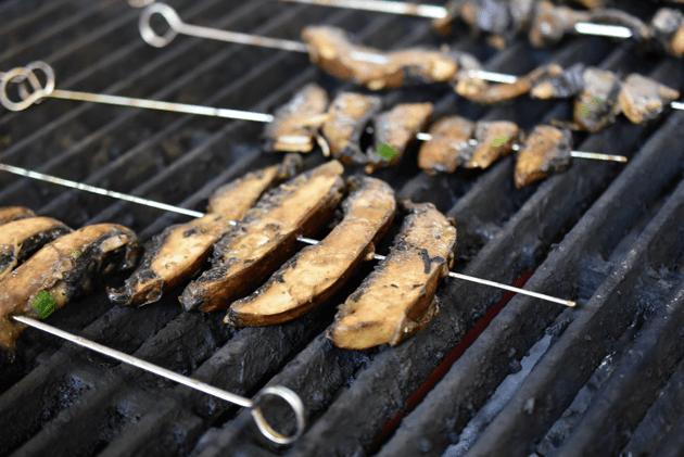Mushroom Skewers on the Grill