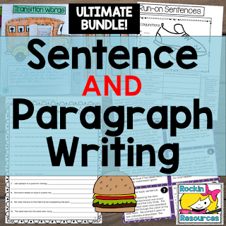 topic sentence, relevant details, closing sentence, run-ons, fragments, complete sentences