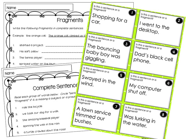 Fragment task card and fragment worksheets