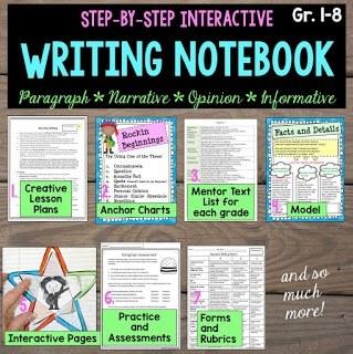 paragraph writing, narrative writing, opinion writing, informative writing, a complete writing program