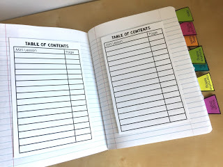 record the lesson and page for the table of contents