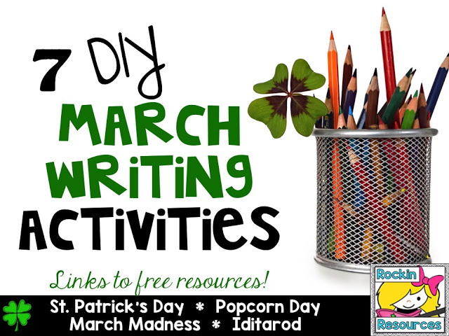 St. Patrick's Day writing, Popcorn Day Writing, March Madness, Iditarod
