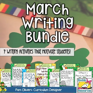 Find ideas for St. Patrick's Day writing, March madness, popcorn, Iditarod