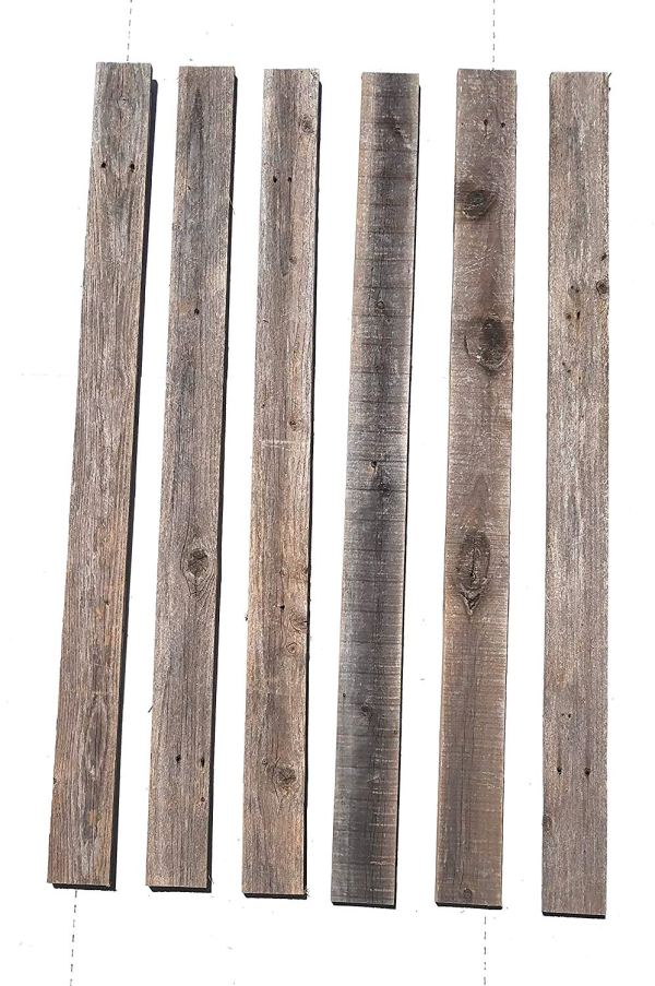 Rockin' Wood Rustic Weathered Reclaimed Wood Planks for DIY Crafts, Projects and Decor (Rustic Grey)