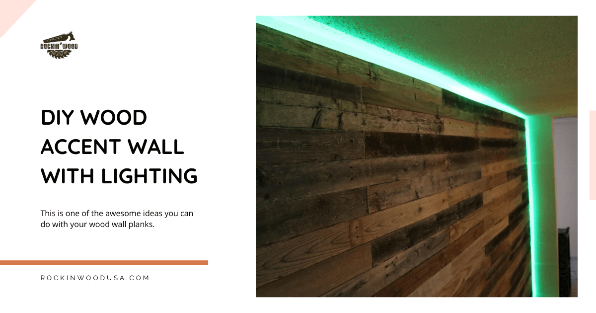 DIY wood accent wall with lighting
