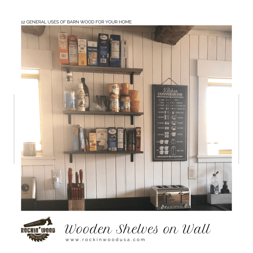 Wooden Shelves on Wall