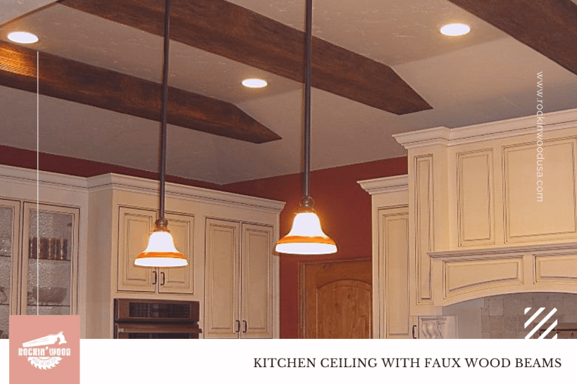 Kitchen Ceiling with Faux Beams