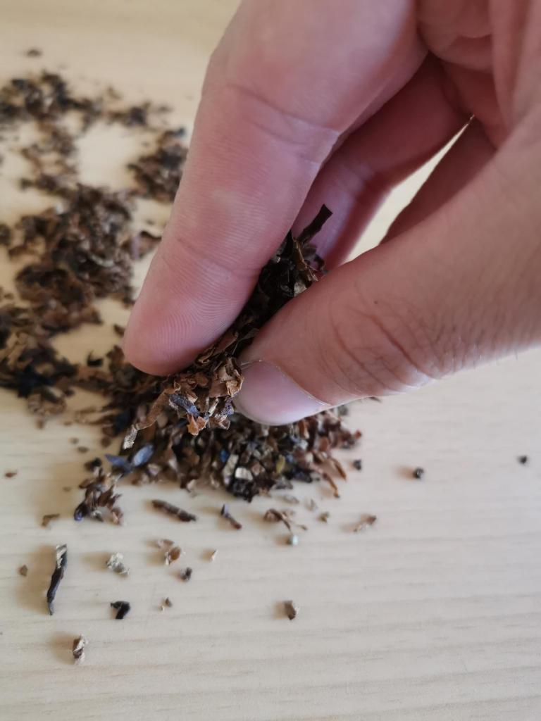 Tabak Prise zwischen Finger