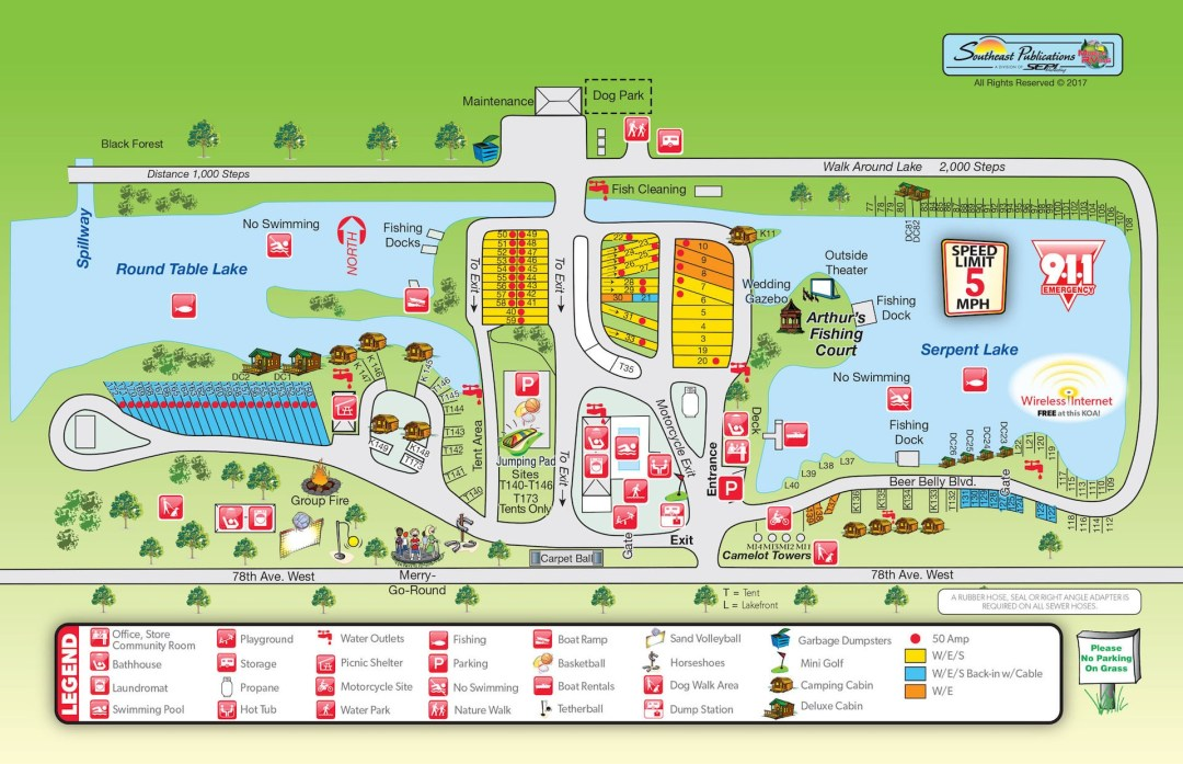 Rock Island KOA Campground Map