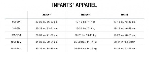 sizing charts the north face - 1200×476