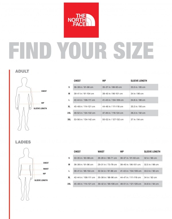 sizing charts the north face - HD1200×1522