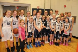 The Varsity Lady Bulldogs with the Grade 5 Travel Team prior to the January 27th game vs Norwell