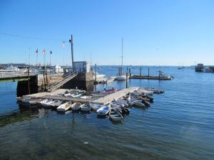 If you prefer to come ashore via your dinghy, instead of taking the Rockland Yacht Club launch, you will find ample tie up space at the Rockland Public Landing.