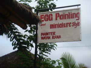 Ubud Bali Egg Painting Signage