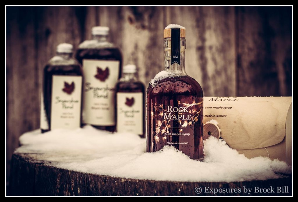 Rock maple and snowshoe pond glass bottles beauty shot