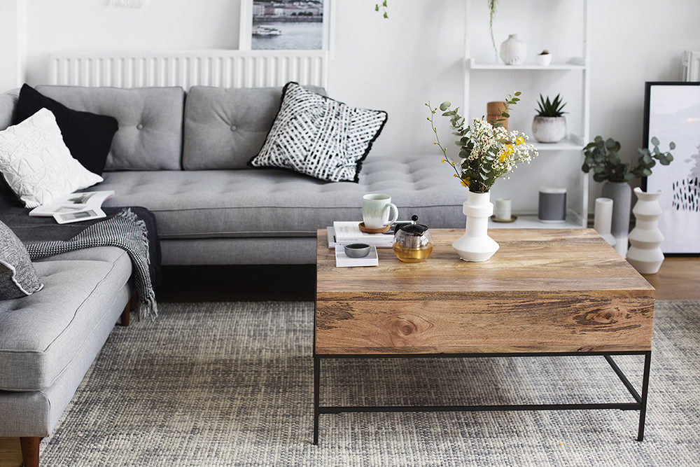 Stylish Monochrome And Grey Living Room Inspiration With