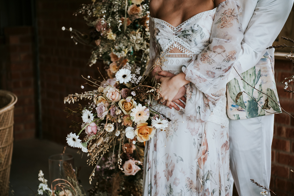 Dried Flowers And Floral Wedding Dress For Luxury Boho