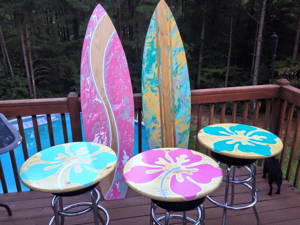 beach surf styled table tops and surf board art