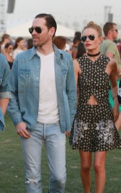 Kate Bosworth and Michael Polish navigate through the crowd at Coachella