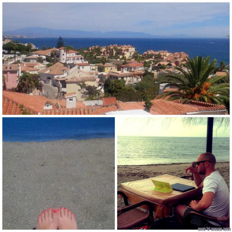 The view from the roof terrace on my villa, my toes at the beach and Jonny eating breakfast on the sand!