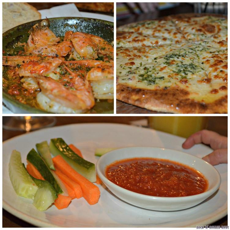 We started with unctious garlicy prawns, more garlic and mozzarella pizza bread and the children had vegetable sticks and dips!