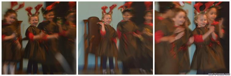 Being reindeer for Girl's Brigade and loving the front row. She apparently asked, when she came off stage, if she could go back on - That's my girl!