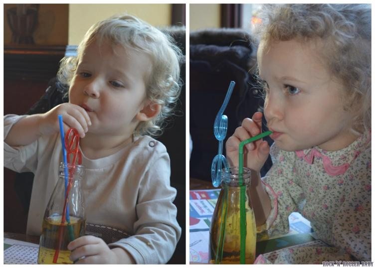 Slurping up as uch juice as they could handle with curly straws to bring home was a real treat!