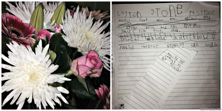 My flowers and the wonderful menu writeen entirely by my Flobo on her own - clever girl!