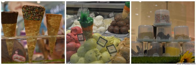 Choose a cone or a pot, flavour gelato and then a topping! YUMMO!